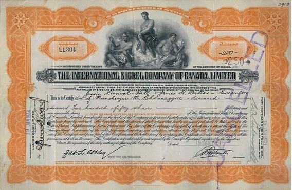 Apólice Canada The Intl. Nickel Co. Of Canada 1934 * C O L *