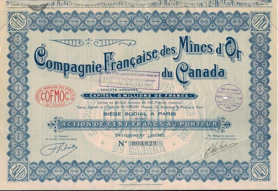 Apólice Canada Compagnie Française Des Mines D