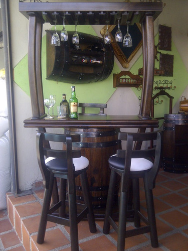 Bar Copero Porta Botella Licorero En Madera Barril O Barrica