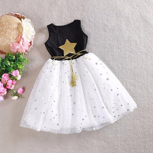 Vestido Princesa Fashion Estrella Cotton Chiffon Niña //