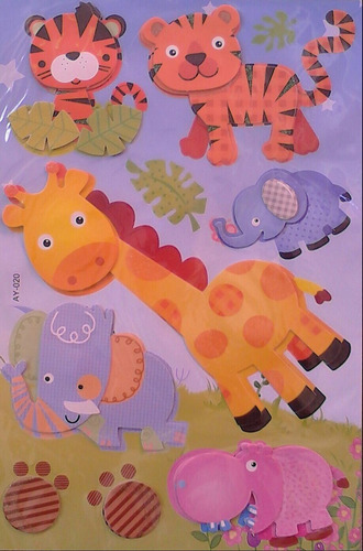 Vinil Vinilos Sticker Safari Infantiles 3d Pack De 2