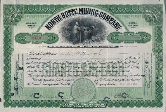 Apólice U S A North Butte Mining Co. Green 1914 * C O L *