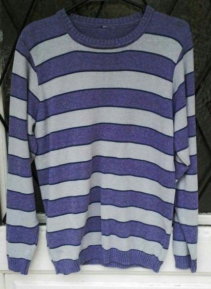 Sweater Rayado Lila Y Violeta Oversize T M/ L Excelente Calidad Liquidación