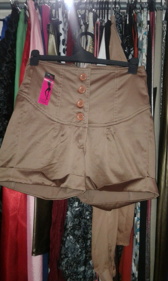 Shorts De Rasado Elastizado Cintura Alta