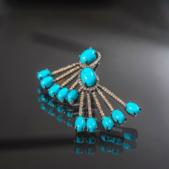 Aretes Indues Con Diamantes Sucios Plata Y Turquesas