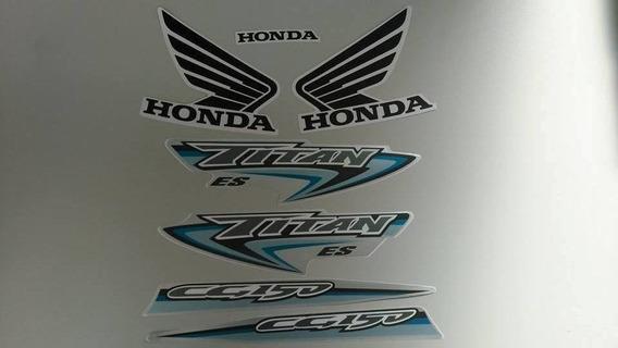 Kit Adesivo Tanque Honda Titan 150 2007 Es - Prata