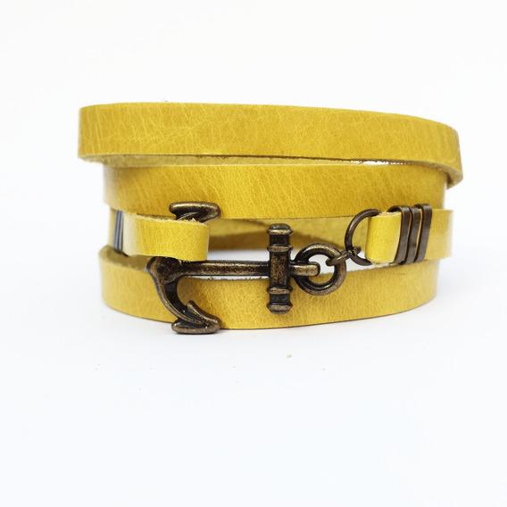 Pulseira Masculina Âncora Navy Hype Couro Legítimo Amarelo