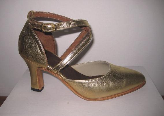 15% Off Sólo Talle 36 Zapatos Estudio Danza Tango Salsa 100% Cuero Vacuno Tiras Cruzadas Suela Rígida Color Dorado