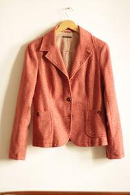 Blazer Sisley, Lã Branca E Vermelha, Pouco Uso