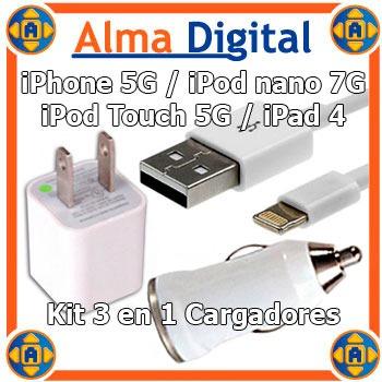 Kit 3en1 Cargador Pared Carro Usb iPhone 5 6 7 Touch5 Nano7