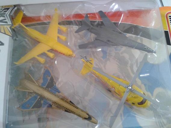 Miniatura Avião E Helicóptero Conj.c/ 4 Matchbox - Novo !