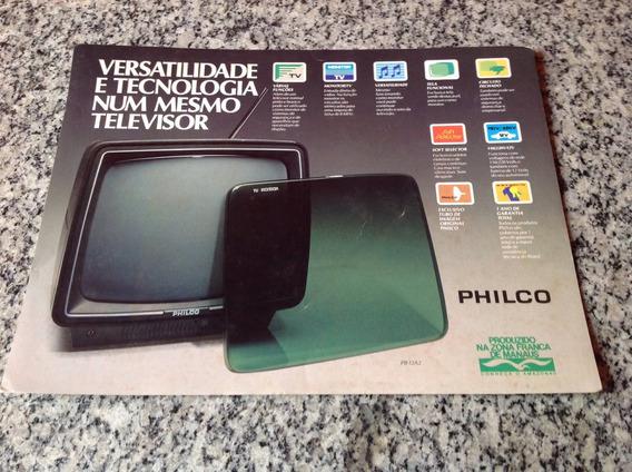 Folheto Encarte Propaganda Antigo Tv Monitor Philco Pb12a2