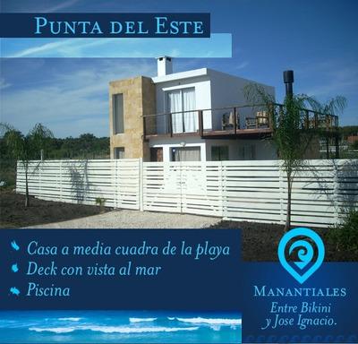 Alquiler Punta Del Este Piscina 1/2cuadra Playa Vista Al Mar