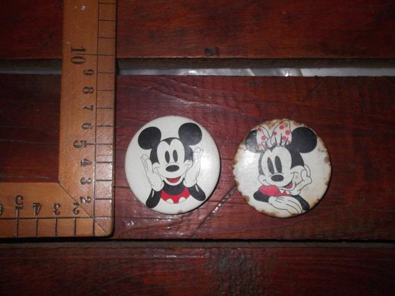 Disney,micky Y Minnie,par De Botones Prendedor