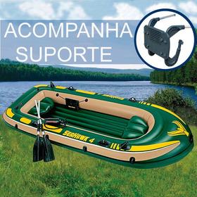 Barco Bote Inflável Seahawk 4 P/ 4-5 Pessoas + Suporte Motor