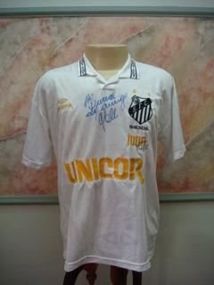 Camisa Futebol Santos Sp Pelé Autografada 1000 Gols 864