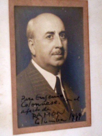 Rara Foto Cartunista Ramon Columba 1949 Na Moldura