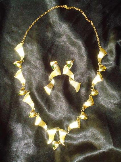 Lindo,elegante Conj.colar/brincos Banho 18k,itália,déc.90