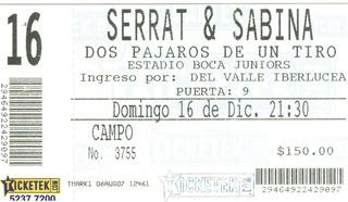 Entrada Serrat-sabina En Argentina (bombonera)