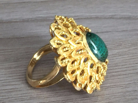 Anel Ouro 18k 750-pêso:18gr.aro:11-comp.34mm. Quartzo Verde