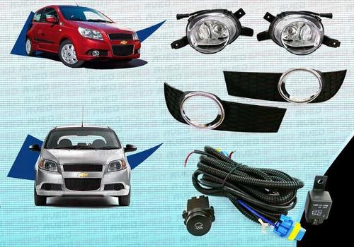 Faros Antinieblas Completo Chevrolet Aveo 2012 Cromado