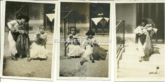 Id17 Lote X 3 Fotos Infantiles Disfraz Gaucho Campo Antigua