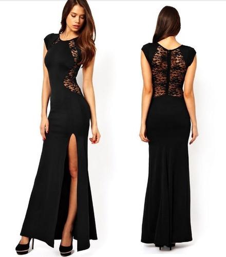 Vestido Largo Con Encaje Talla M Nuevo Importado En Stock