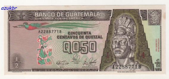* Guatemala 1/2 Quetzal 4-1-1989 P-72a Fe C/leves Manchas *
