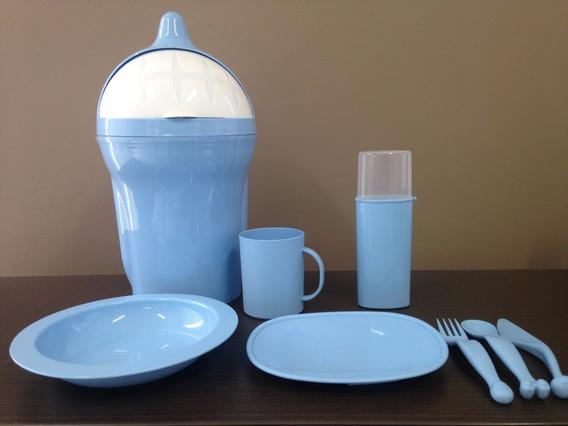 Kit Infantil Plástico(lixeiro,caneca,pratos,talheres, Estojo