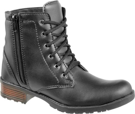 Coturno Bota Feminino Com Ziper Cr Shoes Salto Baixo 1600