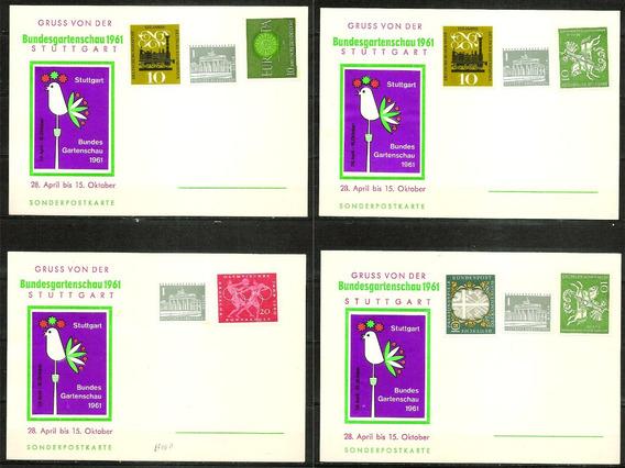 Tarjetas Postales De Alemania Federal Stuttgart Año 1961 X4