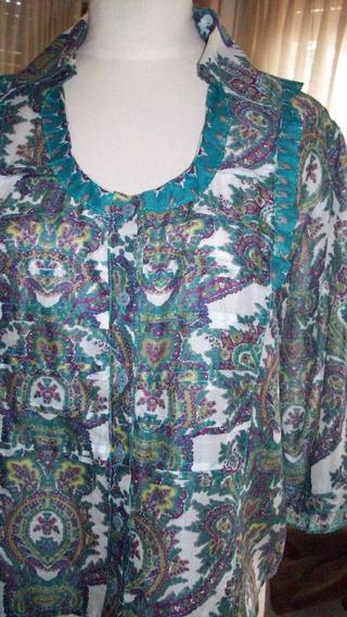 Camisa De Mujer Estampada Algodon Cuello En U-tablitas