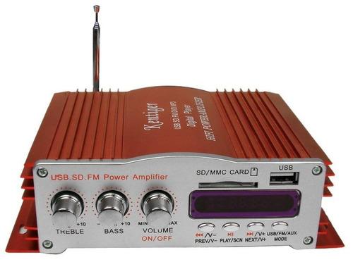 Imagen 1 de 2 de Amplificador Auto Moto Casa Usb Radio Mp3 4 Canales Fm