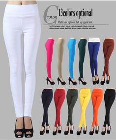 f4e9b35597 Calça Legging Colorida Azul Vermelha - Leggings Femininos Branco com ...