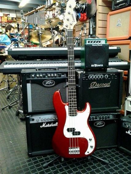 Bajo Leonard Precision Bass Con Funda Color Candy Apple Red