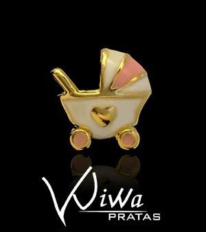 Berloque Carrinho Bebê Banho De Ouro 18k Para Pulseira Vivara