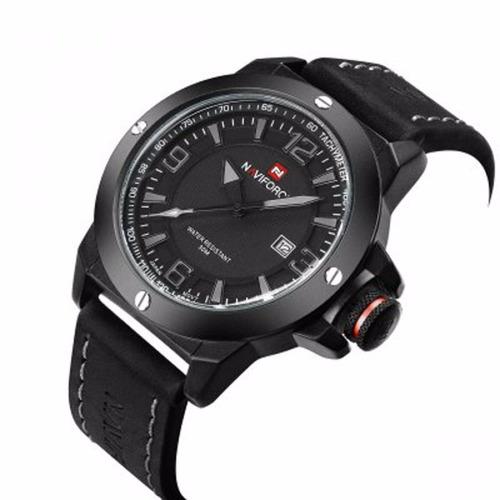 Relógio Masculino Couro Preto Analógico Naviforce + Nfe