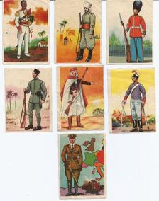7 Figurinhas - Álbum Bandeira E Uniformes - Ano 1965.