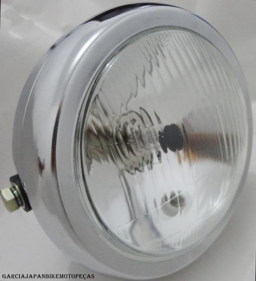 Farol Completo Moto Custom Cafe Racer Sem A Lampada