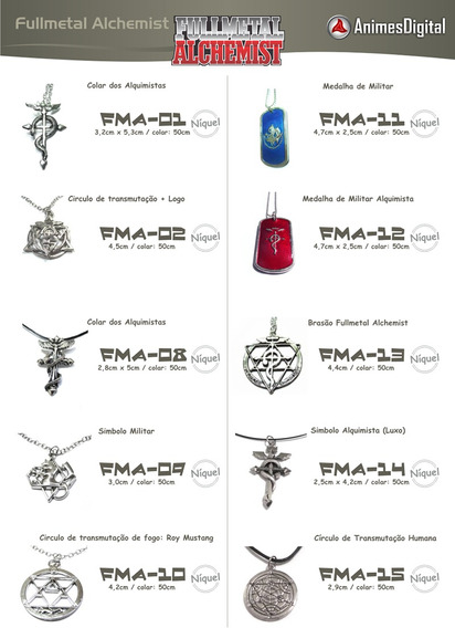 Colares Do Fullmetal Alchemist (varios Modelos)