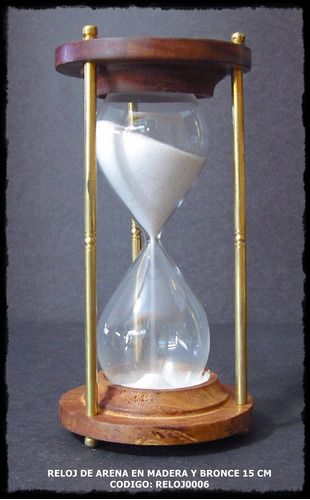 Reloj De Arena En Madera Y Bronce 15 Cm