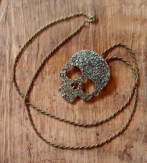 Colar Caveira Mexicana Skull Cordão Feminino Bronze Metal