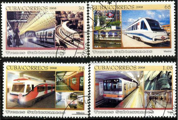 1600 Trenes Carros Del Metro Cuba 4 Sellos C T O N H 2008
