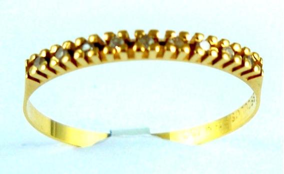 Meia Aliança De Diamantes Em Ouro Amarelo 18 Kt