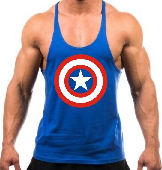 Regata Super Cavada Musculação Capitão America