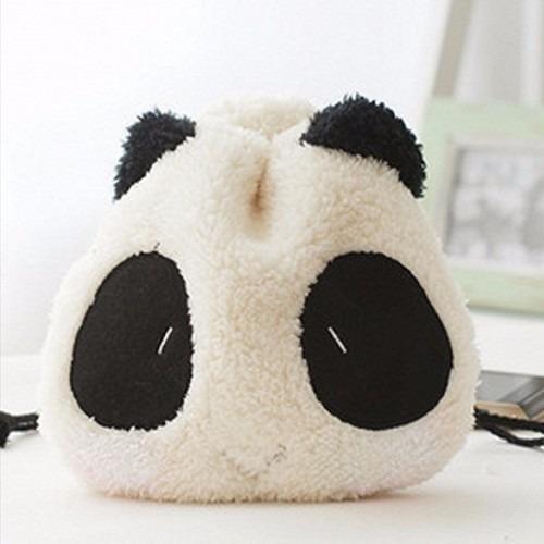 Bolsa De Mão Panda Pelúcia Necessaire Kawaii Bolsinha Fofa