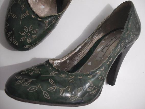 Sapato Scarpin Tanara Verde Tam 37 Ótimo Estado
