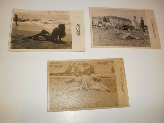 3 Antiguas Foto Postales Bañistas Mar Del Plata
