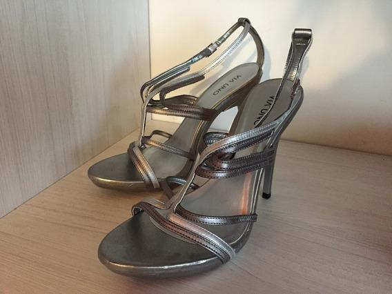 Zapatos Viamo Taco 12 Cm Plata. T.39 Oportunidad!!