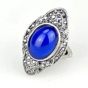 Lindo Anel De Prata Tibetana C/ Marcassita Cz E Resina Azul!